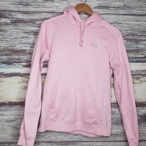 Pink under armour hoodie sweat shirt size md